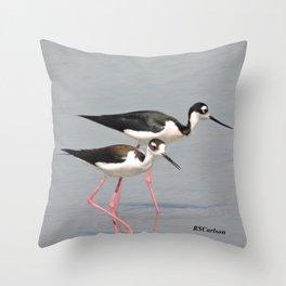 Black-necked Stilts Browsing Throw Pillow