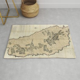 Map Of Dominica 1775 Rug