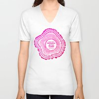 literary V-neck T-shirts featuring My List – Pink Ombré Ink by Cat Coquillette