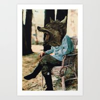 bad wolf Art Prints featuring Bad Wolf by A.T. Velazco