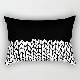 Half Knit  Black Rectangular Pillow