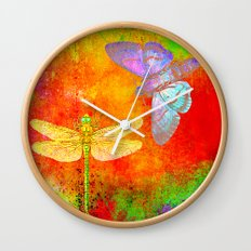The Dragonfly and the Butterfly Wall Clock