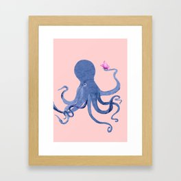 Blue Octopus and Butterfly Framed Art Print