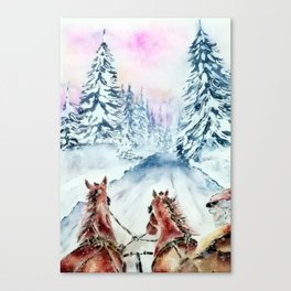 Winter Day-Watercolor Canvas Print