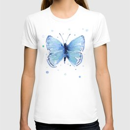 Blue Butterfly Watercolor T-shirt