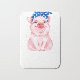 Blue Bandana Pig Bath Mat