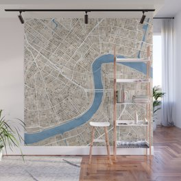 New Orleans Cobblestone Watercolor Map Wall Mural