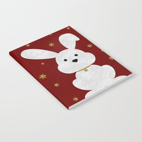 Christmas Bunny Red Marble Notebook