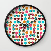 sunglasses Wall Clocks featuring Sunglasses by Valendji