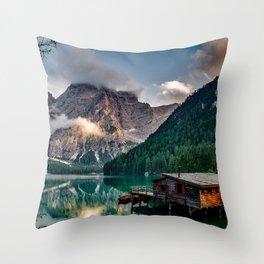 Pragser Wildsee Lake in Prags Dolomites Throw Pillow