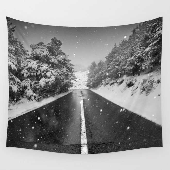 """""""The road"""". Bw Wall Tapestry"""