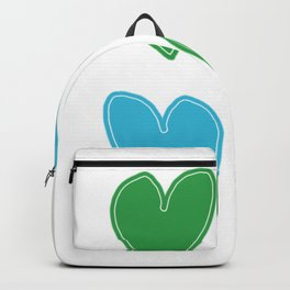 Blue and Green Hearts - 4 hearts Backpack