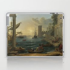 Seaport with the Embarkation of the Queen of Sheba by Claude Laptop & iPad Skin
