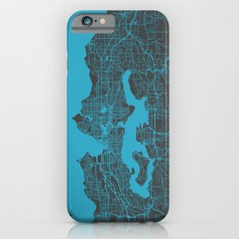 Seattle map blue iPhone Case