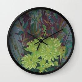 """Yellow chrysantemum"", autumn flowers, floral art Wall Clock"