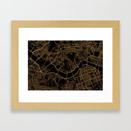 Black and gold Seoul map Framed Art Print