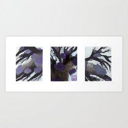 Purple Cherry Blossoms Triptych Art Print