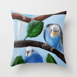 Spinach Tree Parakeet Painting Throw Pillow