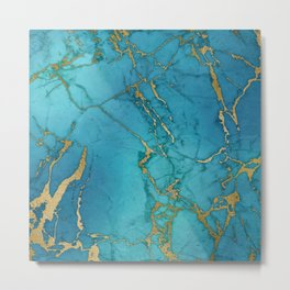 Blue and gold marble stone print Metal Print