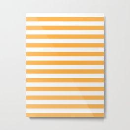 Narrow Horizontal Stripes - White and Pastel Orange Metal Print