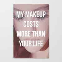 makeup Canvas Prints featuring Makeup by ewwidc