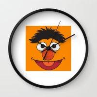 sesame street Wall Clocks featuring Sesame Street Bert by Jconner