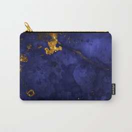 Gold Blue Indigo Malachite Marble Carry-All Pouch