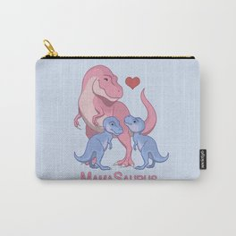 MamaSaurus T-rex and Twin Boy Dinosaurs Carry-All Pouch