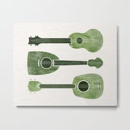 Hawaiian Ukuleles - Emerald Green Metal Print