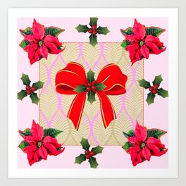 RED RIBBON BOW HOLLY BERRIES CHRISTMAS POINSETTIAS Art Print