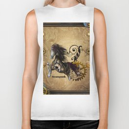 Wild steampunk horse with clocks and gears Biker Tank