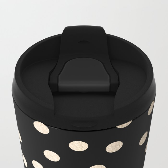 Simply Dots White Gold Sands on Midnight Black Metal Travel Mug