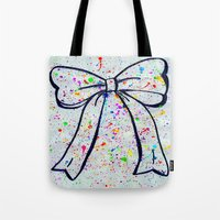 bow Tote Bags featuring Bow by T. Tamaiiya