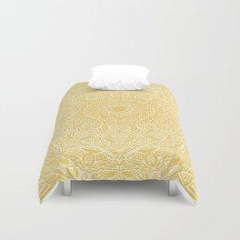 Most Detailed Mandala! Yellow Golden Color Intricate Detail Ethnic Mandalas Zentangle Maze Pattern Duvet Cover