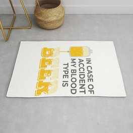 Beer Lover Gift My Blood Type is Beer Gift Rug