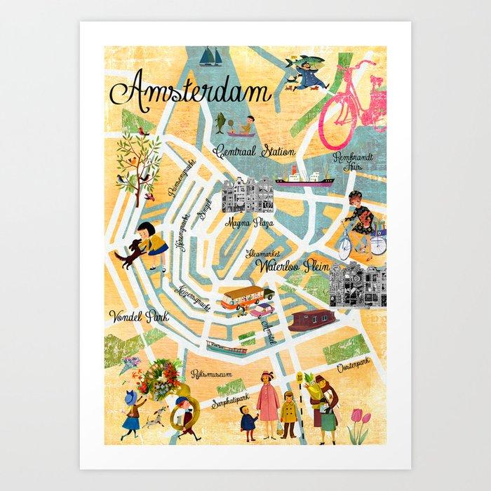 Vintage Amsterdam Map Collage poster print, wall art Art Print