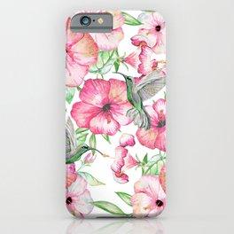 Hibiscus + Hummingbirds Pink iPhone Case