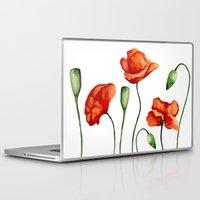 poppies Laptop & iPad Skins featuring Poppies by Julia Badeeva