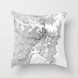 Sydney White Map Throw Pillow