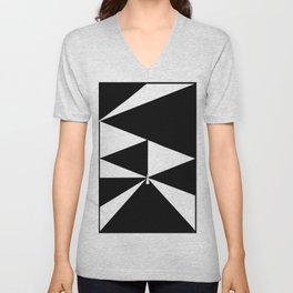 Triangles in Black and White Unisex V-Neck