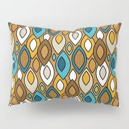 Mid Century Modern Scandinavian Leaves // Turquoise, Brown, Khaki, Marigold Yellow Pillow Sham