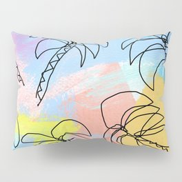 Palm tree pattern summer illustration tropical beach California pastel color Pillow Sham