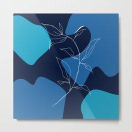 minimal floral art in blu Metal Print