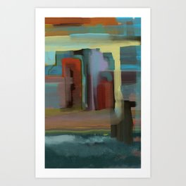 Abstract City, Southwestern Colors Art Print