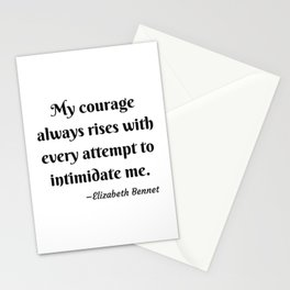 Elizabeth Bennet Courage Quote Pride and Prejudice Jane Austen Stationery Cards