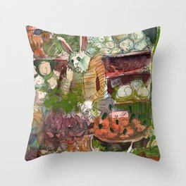 the rabbit owner of the greengrocer Throw Pillow