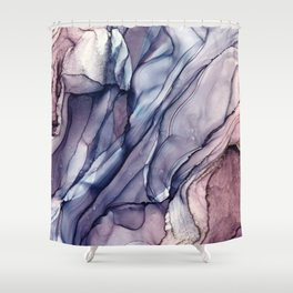 Slate Purple and Sparkle Flowing Abstract Shower Curtain
