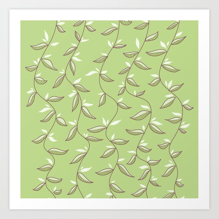 Gentle Green Leaves And Lianas Pattern Art Print