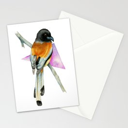 Oriole Bird with Abstract Geometric Watercolor Painting Stationery Cards