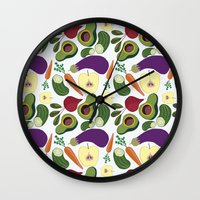 vegetables Wall Clocks featuring vegetables by Aina Bestard